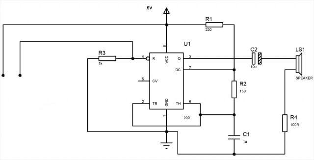 Circuit Diagram of Water Level Alarm using 555 Timer